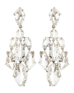 Alexis Bittar Fine Clear Quartz & Claw Diamond Chandelier Earrings