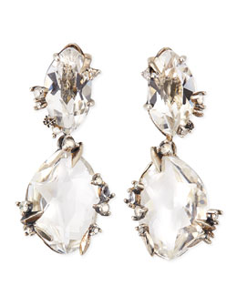 Alexis Bittar Fine Silver Ice Marquis Clear Quartz Drop Earrings with Diamonds
