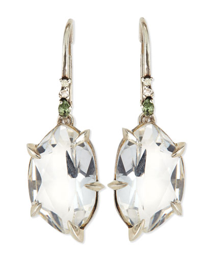 Alexis Bittar Fine Quartz Drop Earrings with Claw Sapphires & Diamonds