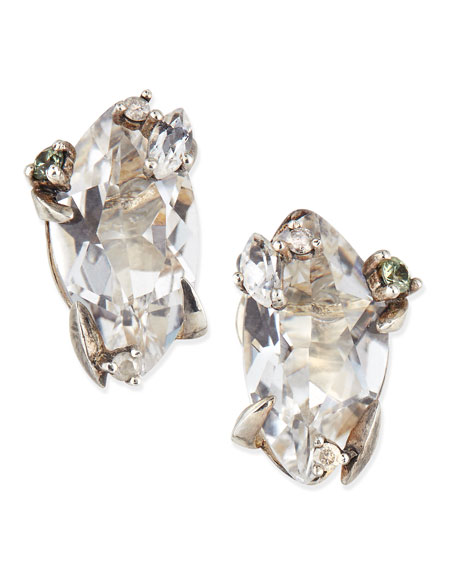 Clear Quartz, Sapphire & Diamond Stud Cluster Earrings
