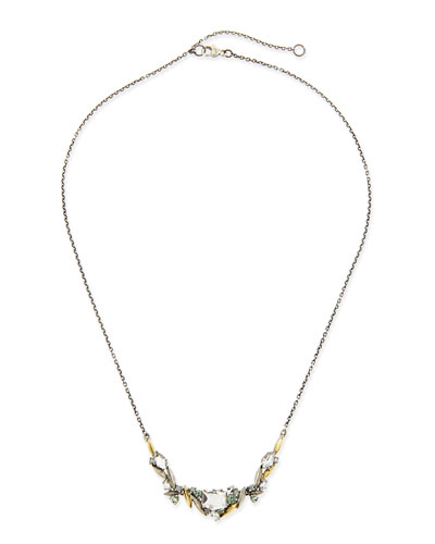 Alexis Bittar Fine Marquis Quartz, Diamond & Sapphire Cluster Necklace