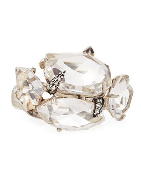 Clear Quartz & White Diamond Cluster Ring