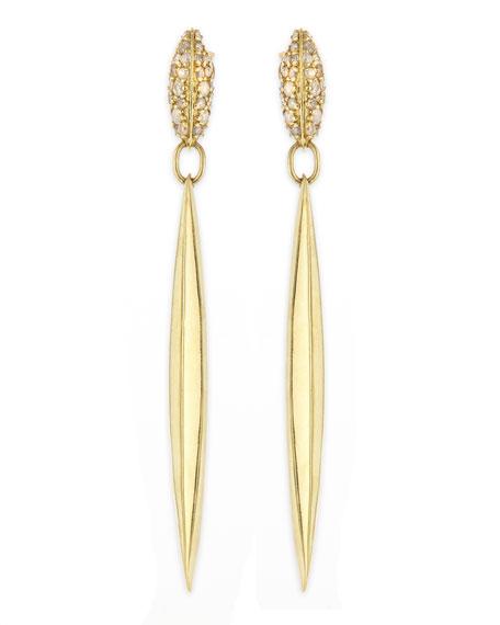 Diamond & 18k Honey Gold Marquis Spike Drop Earrings