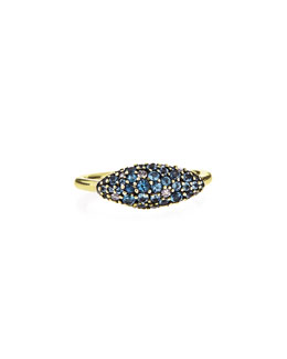 Alexis Bittar Fine 18k Gold Pave Blue Sapphire Marquis Ring