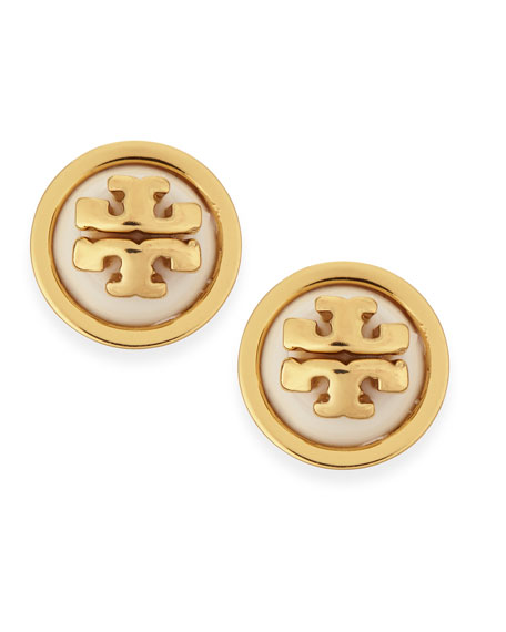 Melodie Logo Stud Dome Earrings, Ivory