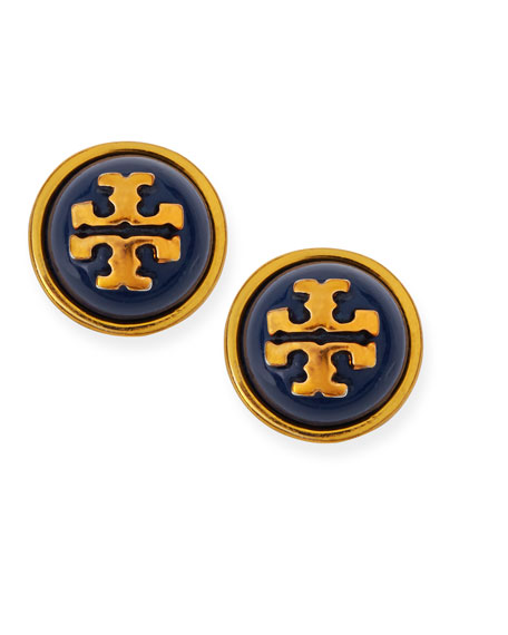 Melodie Logo Stud Dome Earrings, Navy