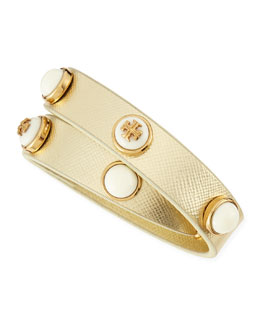Tory Burch Melodie Double-Wrap Leather Bracelet, Gold/Ivory