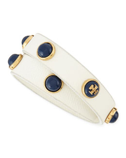 Tory Burch Melodie Double-Wrap Leather Bracelet, White/Navy