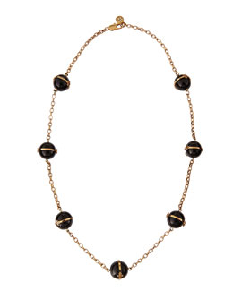 "Tory Burch 31""L Melodie Rosary Bead Necklace, Black"