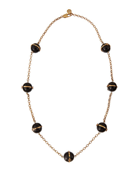 "31""L Melodie Rosary Bead Necklace, Black"