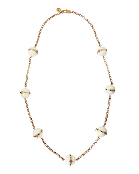 "31""L Melodie Rosary Bead Necklace, Ivory"