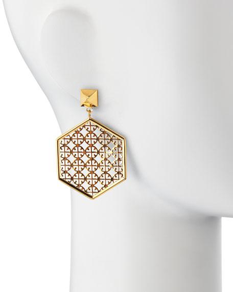 Golden Perforated Logo Hexagon Drop Earrings