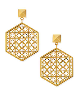 Tory Burch Golden Perforated Logo Hexagon Drop Earrings