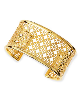 Tory Burch Golden Perforated Logo Skinny Cuff