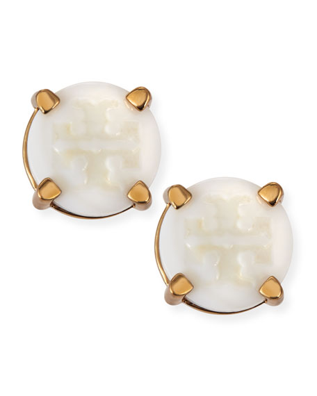 T Logo-Carved Button Stud Earrings, Ivory