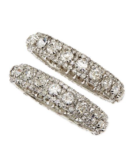 White Crystal Bangles, Set of 2