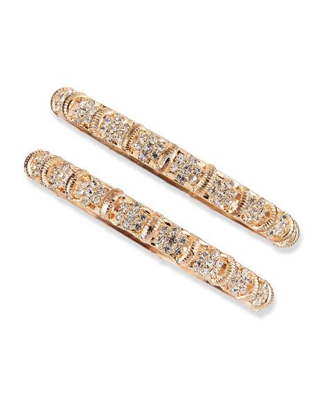 Rose Golden Two-Piece Crystal Bangle Set