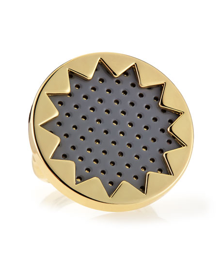 Perforated Leather Sunburst Ring, Gray