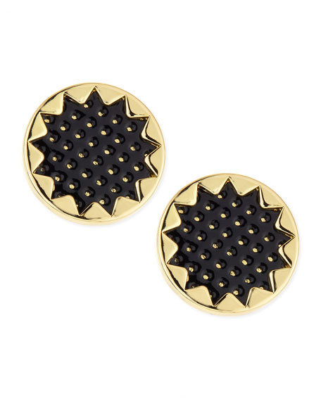 Perforated Leather Starburst Button Stud Earrings, Black