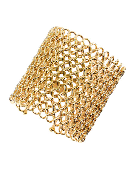 Knight's Armor Golden Mesh Cuff Bracelet