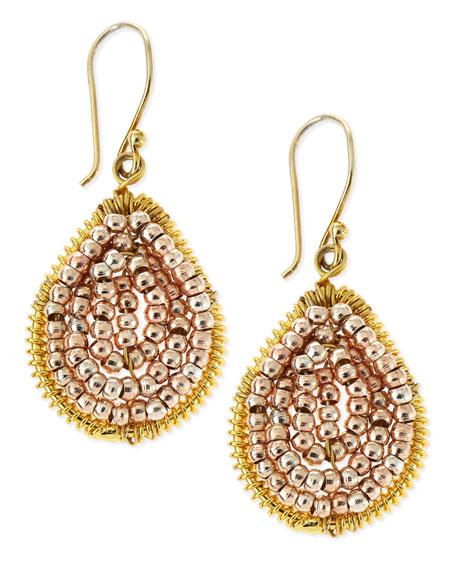 Small Rose Golden Beaded Teardrop Earrings
