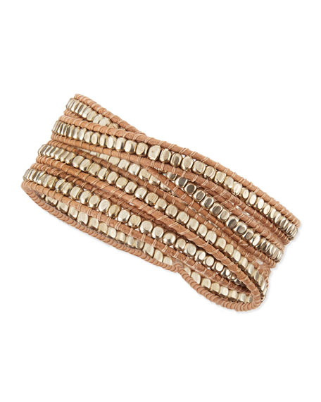 Metal Beaded Cord Multi-Wrap Bracelet, Silvertone/Tan