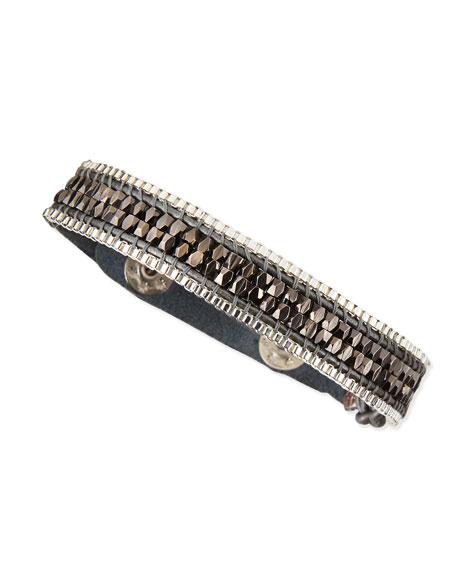 Gunmetal Beaded Cord Bracelet with Snap