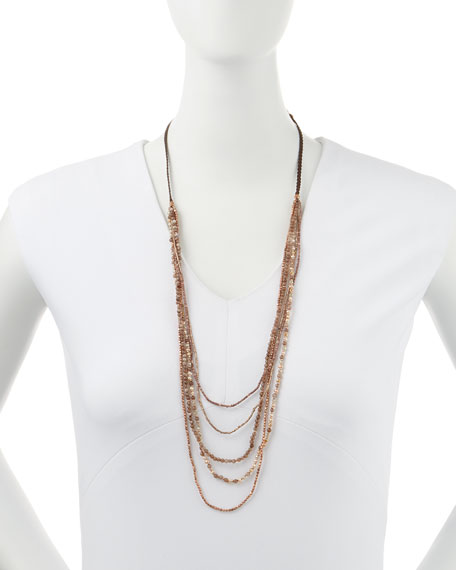 Beaded Multi-Strand Necklace, Brown/Pink/Bronze
