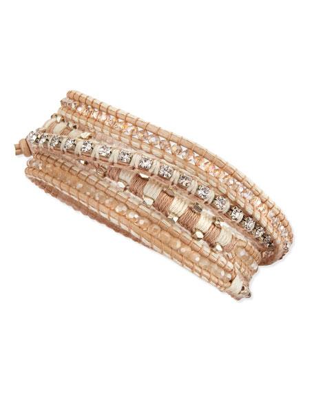 Mixed-Bead Multi-Wrap Bracelet, Silver