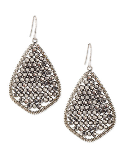 Nakamol Gunmetal Beaded Teardrop Earrings