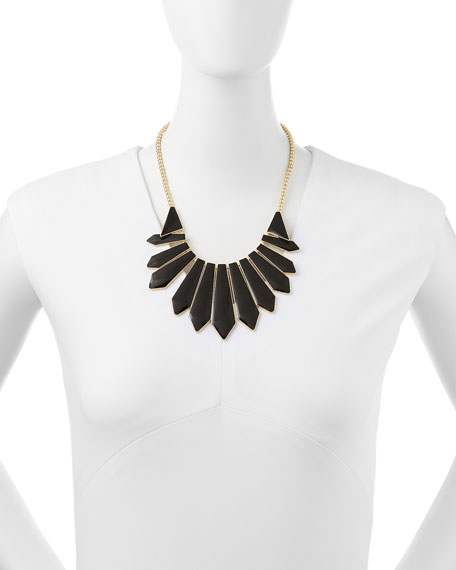 Enameled Cabochon Bib Necklace, Black