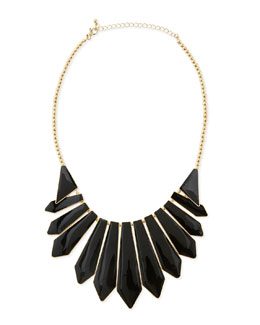 Panacea Enameled Cabochon Bib Necklace, Black