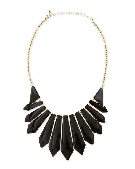 Enameled Cabochon Bib Necklace, Black