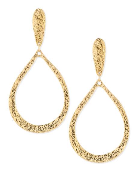 Hammered Golden Teardrop Earrings