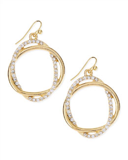 Panacea Pave Crystal Golden Interlocked Loop Earrings