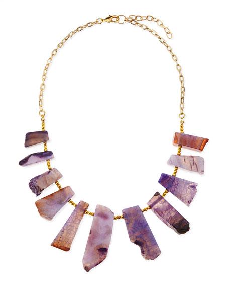 Agate Stick Collar Necklace, Purple