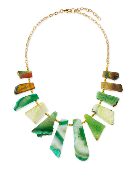 Agate Stick Collar Necklace, Green