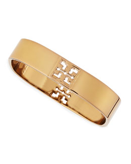 Tory Burch Golden T Logo-Cutout Square Metal Bangle