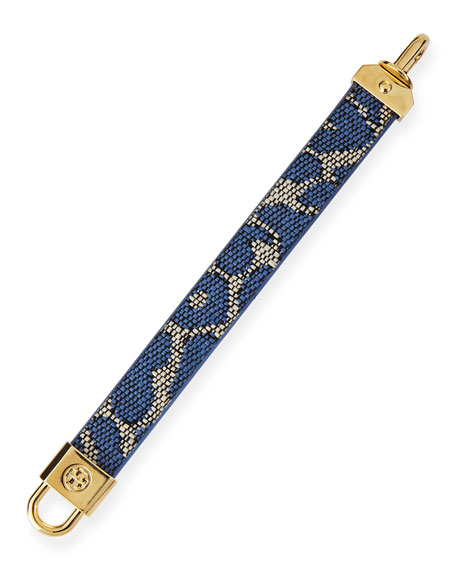 Lock-Closure Woven Raffia Bracelet, Blue Leopard
