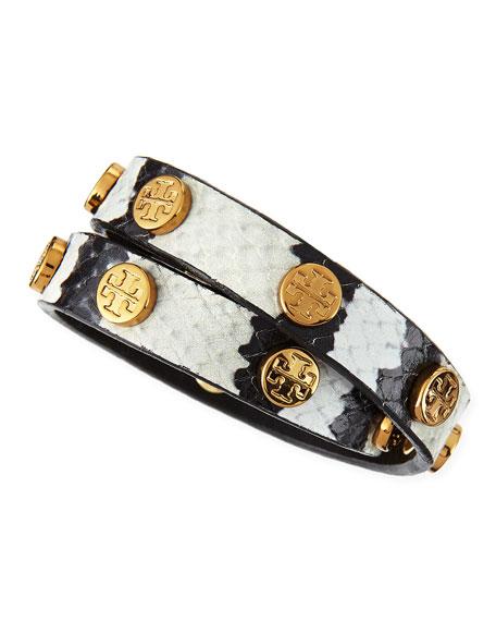 Wallis Logo-Studded Faux-Snake Wrap Bracelet, Ivory