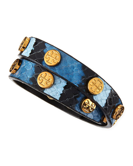 Wallis Logo-Studded Faux-Snake Wrap Bracelet, Blue