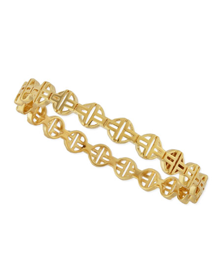Stackable Golden Pierced T-Lattice Bangle
