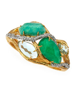 Alexis Bittar Multi-Stone Vine Hinge Bangle, Green