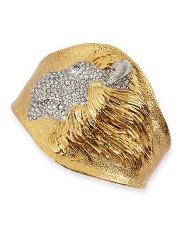 Alexis Bittar Yellow Golden Pave Crystal Lion Cuff