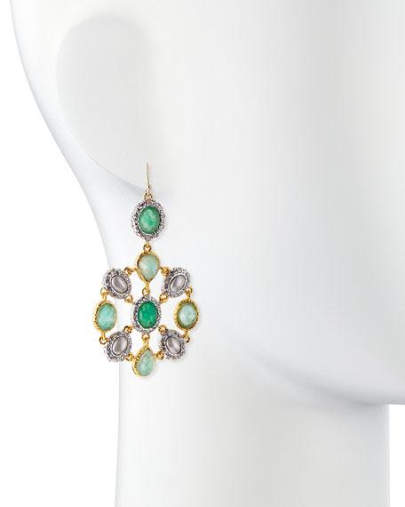 Multi-Stone Mosaic Drop Earrings, Green