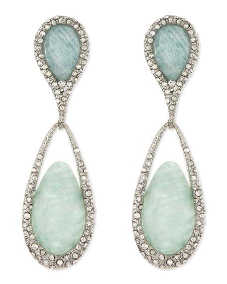 Dangle Clip-On Earrings, Green