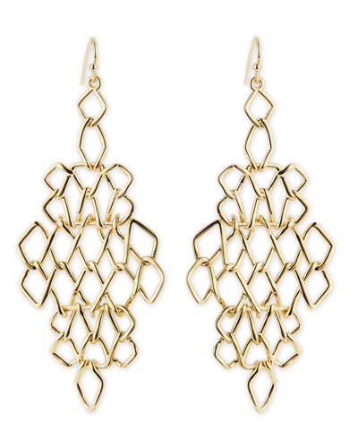 Alexis Bittar Golden Barbed Articulating Diamond-Shaped Drop Earrings