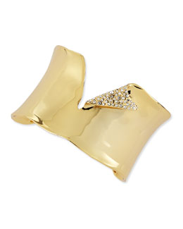 Alexis Bittar Polished Golden Torn Cuff with Pave Crystals