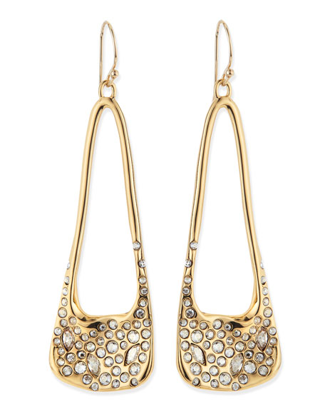 Alexis Bittar Golden Pave Crystal Drop Earrings