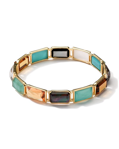 Ippolita 18k Gold Rock Candy Gelato Rectangular 12-Stone Bangle, Sailor